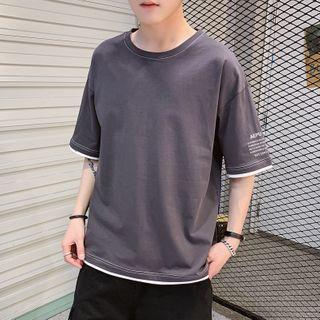 KOKAY - Lettering Elbow-Sleeve T-Shirt