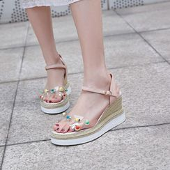 JY Shoes - Clear Panel Beaded Wedge Platform Espadrille Sandals