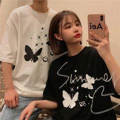 IndiGirl(インディガール) - Couple Matching Short Sleeve Print T-Shirt