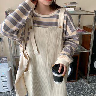 Guajillo - Long-Sleeve Striped Sweatshirt / Plain Jumper Dress