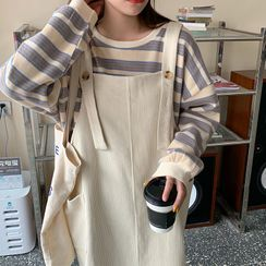 Guajillo - Long-Sleeve Striped Sweatshirt / Plain Jumper Dress