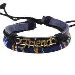 KINNO(キンノ) - Letter Woven Genuine Leather Bracelet