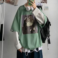 Zentrus - Mock Two Piece Printed T-Shirt