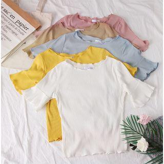Babique - Bell-Sleeved Plain T-Shirt