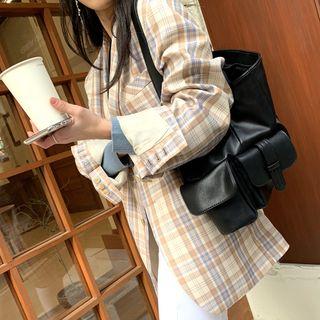 PPGIRL - Faux-Leather Pocket-Trim Shoulder Bag