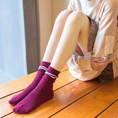 YiFFi - 兩對套裝: 配色邊襪子