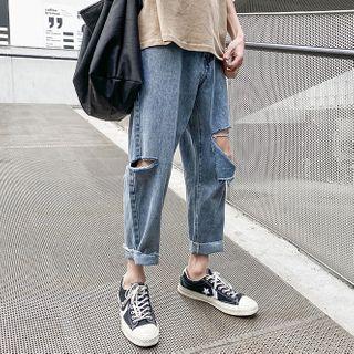 Rampo - 破洞直身牛仔褲