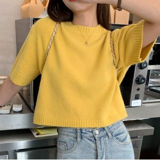 OCTALE - Plain Short-Sleeve Sweater