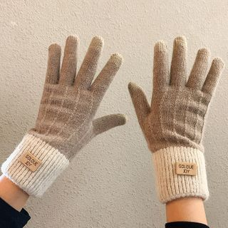 Pompabee - Two-Tone Knit Gloves