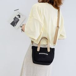 BAGuette - Letter Printed Canvas Crossbody Bag