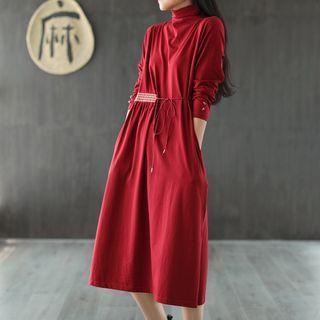 Chuile - 腰結帶長袖直身連衣中裙
