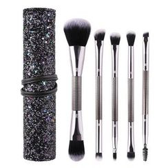 ZOREYA - Set of 5: Dual Head Makeup Brush with Sequined Brush Case