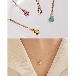 Miss21 Korea(ミス21コリア) - Smiley Pendant Silver Necklace