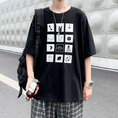 Oakjam - Elbow-Sleeve Print T-Shirt