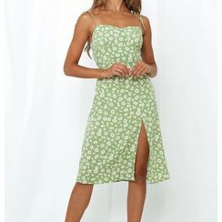Lucada - Patterned Strappy A-Line Dress