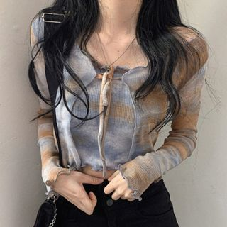 Sukol - Set: Tie-Dye Bolero Cardigan + Tube Top