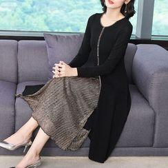 Alpatica - Mock Two Piece Long-Sleeve Midi Dress