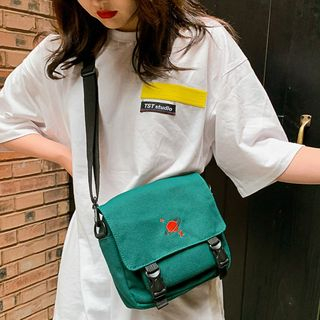 Beamie - Embroidery Buckled Messenger Bag