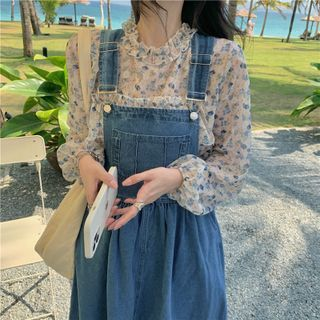 Alfie - Long-Sleeve See-Through Floral Print Blouse / Denim Overall Dress