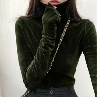 Chogen - Long-Sleeve Turtle-Neck Velvet T-Shirt