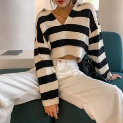 LIPHOP - Collared Striped Crop Knit Top
