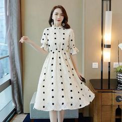 Tanzil - Bell-Sleeve Midi Dotted A-Line Dress