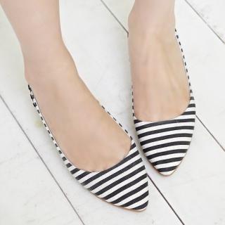 Styleberry - Striped Pointy Flats