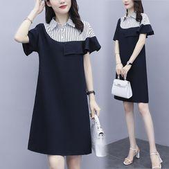SEPH - Short-Sleeve Striped Panel Shift Dress