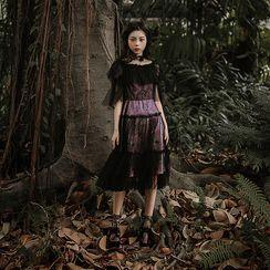 Rosian - Short-Sleeve Lace A-Line Midi Dress