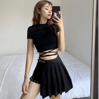 Sisyphi - Cropped Short-Sleeve T-Shirt / Asymmetric Hem Pleated Skirt