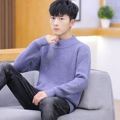 Bay Go Mall - Plain Mock-Neck Sweater