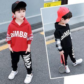 PAM - 小童套装: 拼接字母连帽衫 + 运动裤