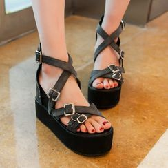 Megan - Platform Hidden Wedge Strappy Buckled Sandals