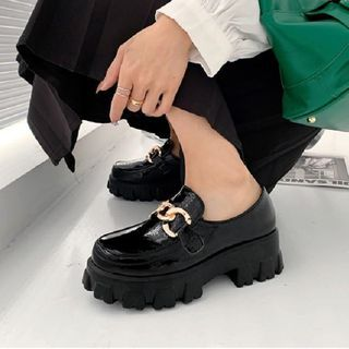 JY Shoes - Platform Chained Loafers