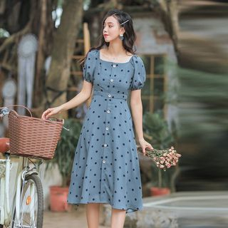 Fancy Show - Dotted Short-Sleeve Midi A-Line Dress