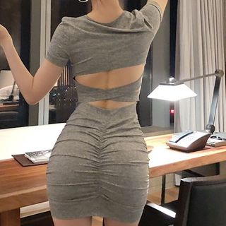 Berdal - Open Back Short-Sleeve Mini T-Shirt Dress