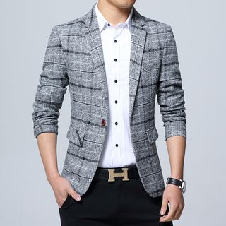 Andrei - Plaid Single-Button Blazer