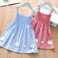 Galactica - Kids Spaghetti Strap Floral Checked A-Line Dress