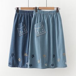 Angel Love - Embroidered Denim A-Line Skirt