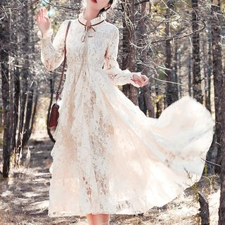Neenah - Stand Collar Tie-Neck Lace Maxi Dress
