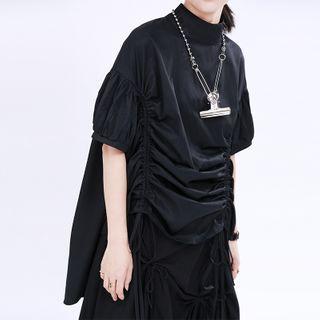 Ultra Modern - Plain Short-Sleeve A-Line Dress