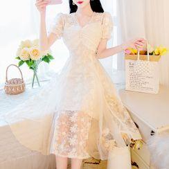 Petit Lace - Short-Sleeve Lace A-Line Dress