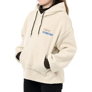 Guajillo - Mock Two-Piece Embroidered Lettering Sherpa Hoodie