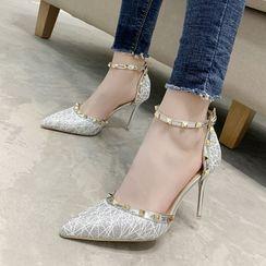 Beatrix - Studded Ankle Strap Stiletto Heel Sandals