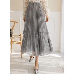 Styleonme - Reversible Tulle Satin Long Skirt
