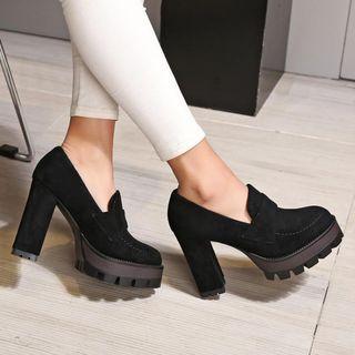 JY Shoes Chunky-Heel Platform Loafers