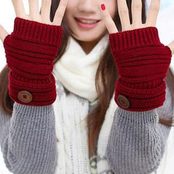 Home Simply - Buttoned Knit Fingerless Gloves