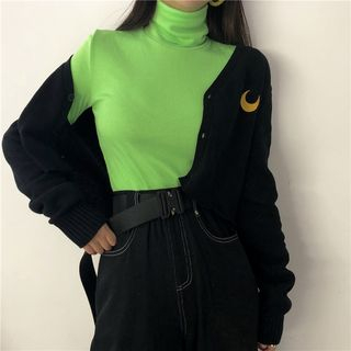 Alfie - Moon Embroidered Cropped Cardigan / Turtleneck Ribbed Top