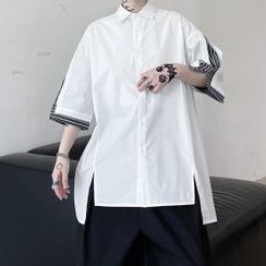 Bjorn - 短袖条纹拼接开衩衬衫
