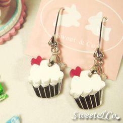Sweet & Co. - Mini White Cupcake Crystal Silver Earrings